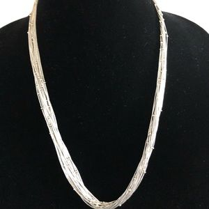 Jewelry - Beautiful liquid silver necklace with gold beads